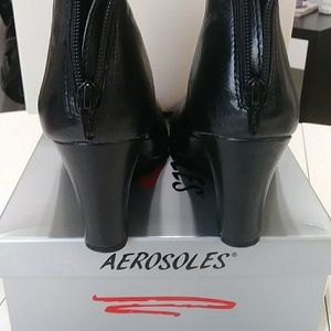 Aerosole Black Zipper Ankle Boots